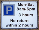 3 hr parking sign